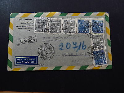 R-Cover Via Aerea Avion Brazil Brasil Expressa Radiomotor to New York 1946