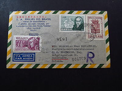 R-Cover Via Aerea Avion Brazil Brasil Sao Paolo Registrada Philips 1955