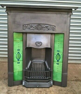 Antique reclaimed and fully restored Cast Iron tiled combination fireplace