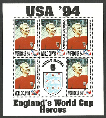 Antigua Barbuda 1994 Usa Football World Cup England Bobby Moore M/Sheet Mnh