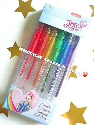 AUTHENTIC Jojo Siwa 6 Pack Scented Glitter Coloured Gel Pens