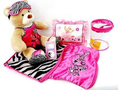 Build A Bear Soft Teddy Bear with Matching Sleep Over Bundle & toy mp3 player