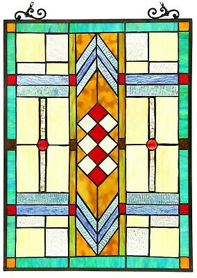 """25"""" x 17.5"""" Bright Mission Tiffany Style Stained Glass Window Panel"""