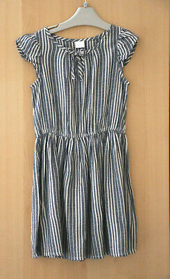 Next Girls Grey Stripe Dress Age 6 Years BNWT