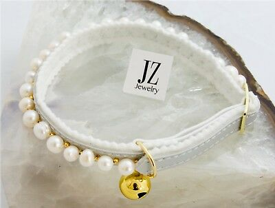 Freshwater Pearl Ancol Safety Cat/Kitten Silver Collar Gold Beads & Gold Bell