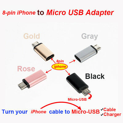 female 8pin Lightning iphone to male Micro USB Adapter Cable charger adapter LOT