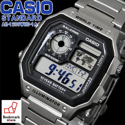 NEW CASIO STANDARD Silver Men's DIGITAL AE-1200WHD-1A / World Time Sports Alarm