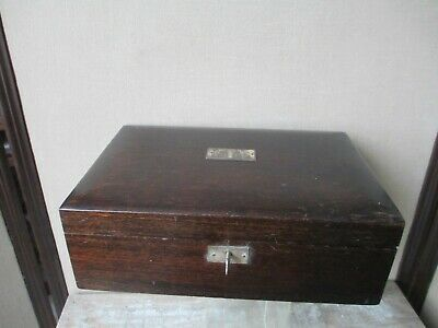 "HUMIDOR Cigar Box ANTIQUE vtg Early 1900's  11-3/4"" x 7-3/4"" Mahogany & Silver"