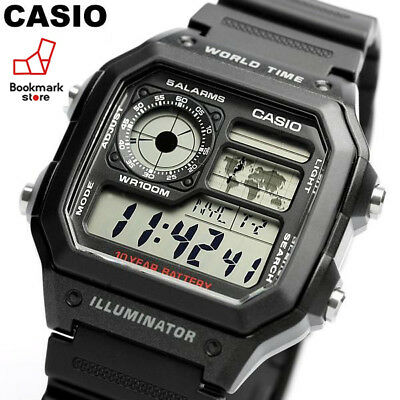 NEW CASIO STANDARD Black Men's DIGITAL AE-1200WH-1AJF / World Time Sports