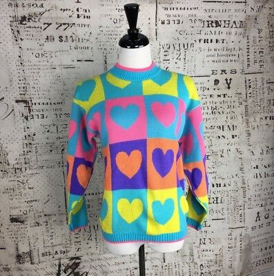 Knit Waves Vintage Heart Sweater multi-colored sz S cute bright colorful