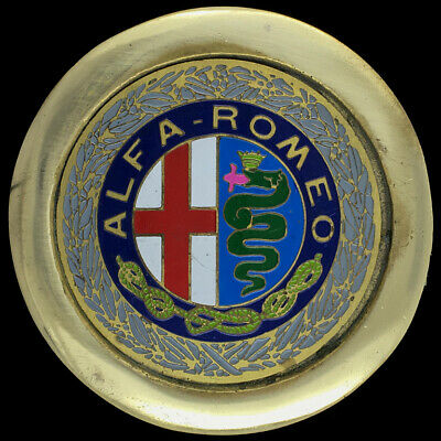 Vtg Alfa Romeo Italy Motor Car Emblem Hood Badge Logo Fiat Racing Belt Buckle