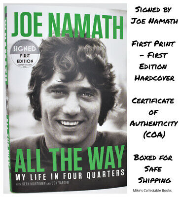 ✎✎HAND SIGNED 1/1✎✎ All the Way AUTOGRAPHED BOOK by Joe Namath +COA  HX  NEW