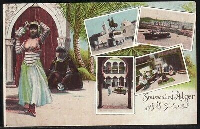 Vintage 1907 - 1915 French Algeria multi-frame divided back souvenir postcard