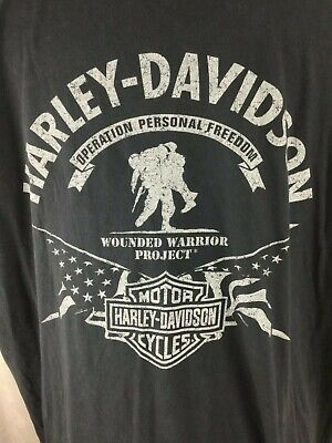a66bbc14891 Men s HARLEY Davidson WOUNDED WARRIOR Project black XL Distressed T-SHIRT  tee