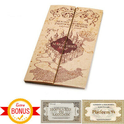 Carte Du Maraudeur Officiel Harry Potter Collection + 2 Billets Poudlard Express