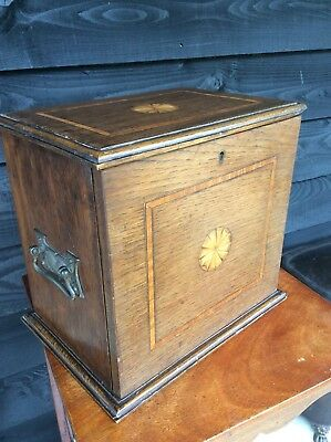 A Quality Edwardian Oak Inlaid Smokers Cabinet Cupboard Jewellrey Chest Cabinet