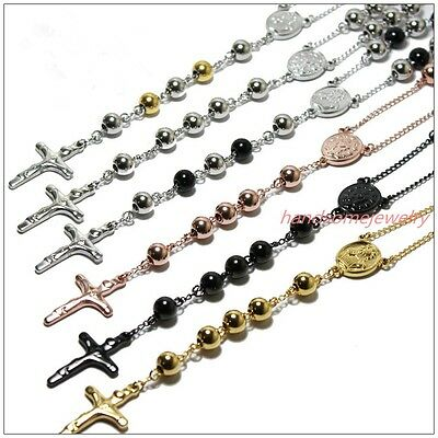 4/6/8mm Men Unisex Stainless Steel Silver/Gold/Black Bead Rosary Chain Necklace