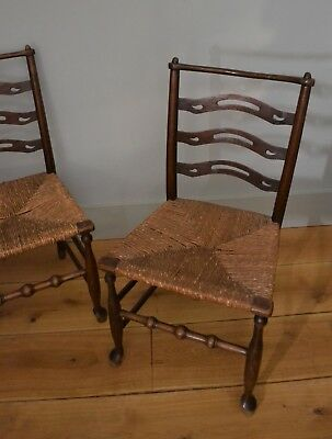 A Pair of 18th C Ladderback Rush Hall Bedroom Kitchen Table Side Chairs Two 2