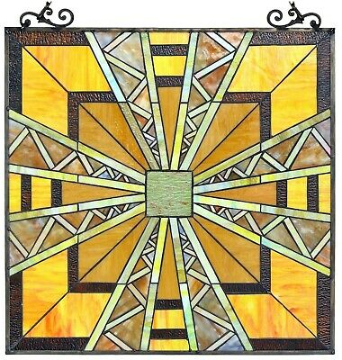 """25.7 x 24.7"""" Transitional Mission Tiffany Style Stained Glass Window Panel"""