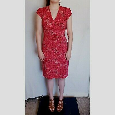 a95d8388444 B. Darlin Dress Red Dillards Sheath Size 3 Size 4 Floral Short Sleeve  Stretch