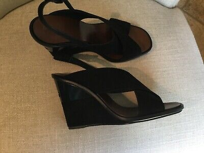 385106990 Tory Burch 9 Gabrielle Royal Navy Blue Wedge Nubuck Suede Leather Sandals  Shoes