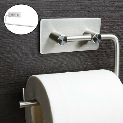 Bathroom Wall Mounted Toilet Roll Holder Sliver  Brushed Tissue Paper Rack UK