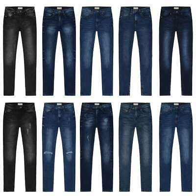 Women Skinny Jeans Mid Rise Stretch Flex Ankle Faded Ripped Plain Various Styles