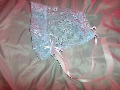 Adult Baby Sissy Blue Lace  Bonnet   Satin  Ties Bows