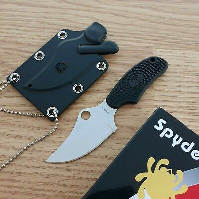 "Spyderco ARK Knife 2.50"" H-1 Steel Modified Clip Point Fixed Blade FRN Handle"
