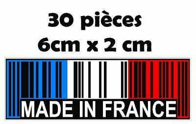 """30x sticker autocollant """" Made in France """" code barre"""