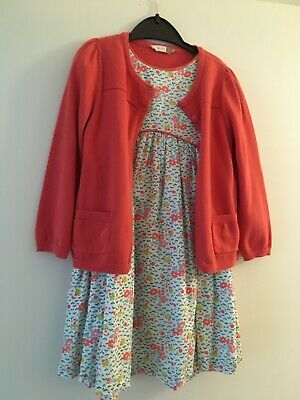 John Lewis Girls Lined Dress Floral Flower Print 4 Yrs BNWOT + matching Cardigan