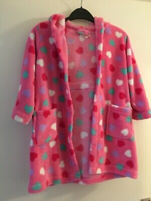 Bluezoo Debenhams Girls Fleece Heart Pink Dressing Gown Robe 3-4 years