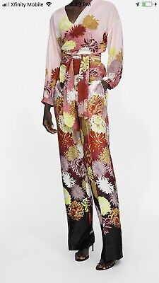 e088e4c1 ZARA NEW WOMAN Floral Printed TROUSERS Pants Size M Medium Pink Orange  Yellow