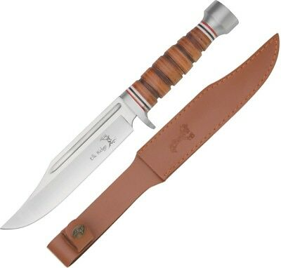 "Elk Ridge Hunter Fixed Knife 6.75"" 440 Stainless Steel Blade Leather Handle"