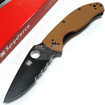 """Spyderco Tenacious Folding Knife 3.37"""" 8Cr13MoV Stainless Blade Brown G10 Handle"""
