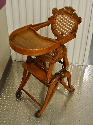 Antique Victorian Wooden High Chair/Rocker converts to 4 positions. Circa 1870