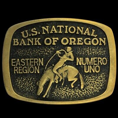 Vtg 80s National Bank Oregon Western Bronc Rider Rodeo Cowboy Brass Belt Buckle