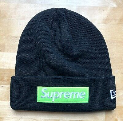 967282a6a04 SUPREME NEW ERA Beanie Box Logo Black And Lime Green FW17 New With ...