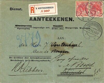 Netherlands 1911 Official mail registered (2x5c) snes!911b