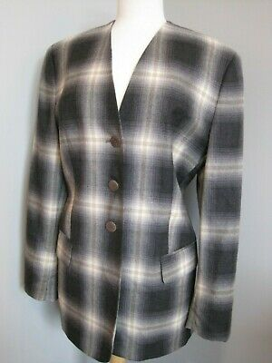 Women's Givenchy Multicolor Check 100% Shearing Wool Blazer Jacket Sz 44 W 14 W