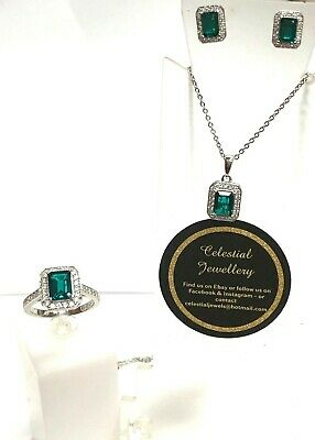 Sterling Silver Green & White Cubic Zirconia 3 peice Set !!!
