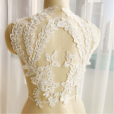 1 Pair Applique Lace Trim Embroidery Sewing 3D Motif DIY Wedding Bridal Crafts
