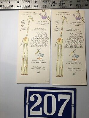 LOT Birthday VTG Greeting Cards Tall Twin Sisters 1980s 84 85 Giraffe Koala Bear