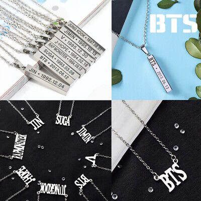 KPOP BTS Necklace Bangtan Boys Jimin JIN J-Hope Suga Steel Pendant Chain Wings