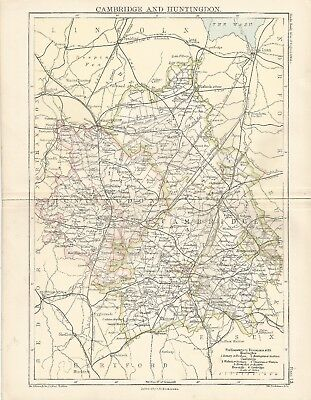 An antique map of Cambridge and Huntingdon - Parliamentary division 1885