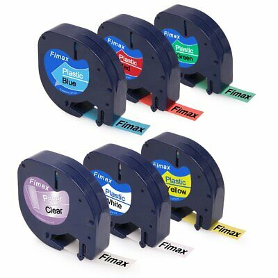 6 Color Pack Compatible Dymo Letratag Refills Plastic 12mm x 4m Label Tapes