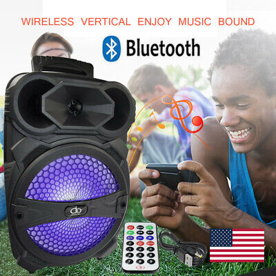 """8"""" BT Party Speaker System Wireless Bluetooth Led Portable Stereo Tailgate Loud"""
