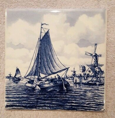 Vintage Dutch Delft Blue and White Hand Painted Ceramic Wall Tile. 1 of 3 Listed