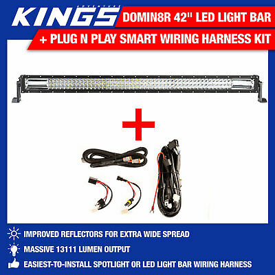 "Adventure Kings Domin8r 42"" LED Light Bar + Plug N Play Smart Wiring Harness Kit"