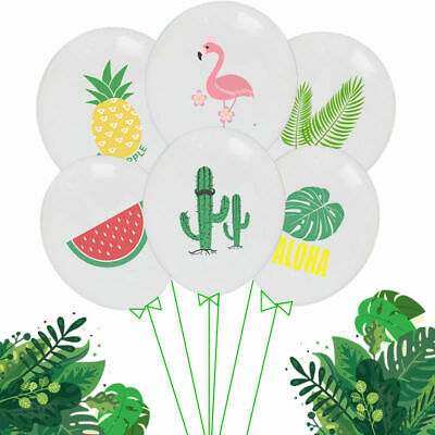 10X Party Supply Set Hawaiian Tropical Party Decor Flamingo Pineapple Balloon